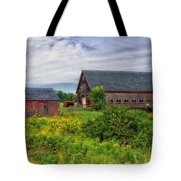 Farm Scene In Rural Maine Tote Bag by Mountain Dreams