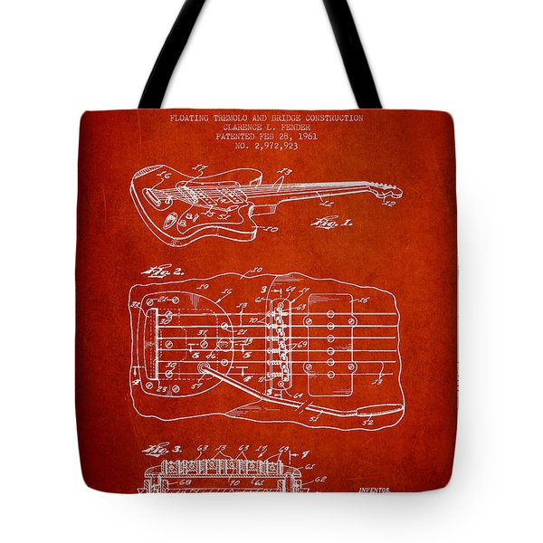 Fender Floating Tremolo patent Drawing from 1961 - Red Tote Bag by Aged Pixel