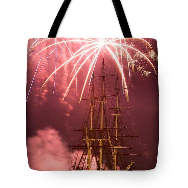 Fireworks exploding over Salem's Friendship Tote Bag by Jeff Folger
