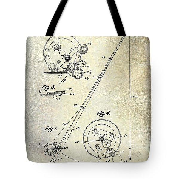 Fishing Reel Patent 1939 Tote Bag by Jon Neidert