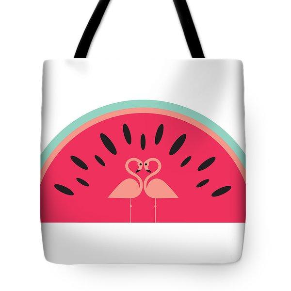 Flamingo Watermelon Tote Bag by Susan Claire