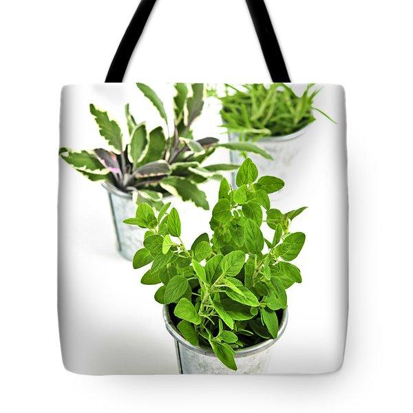 Fresh herbs in pots Tote Bag by Elena Elisseeva