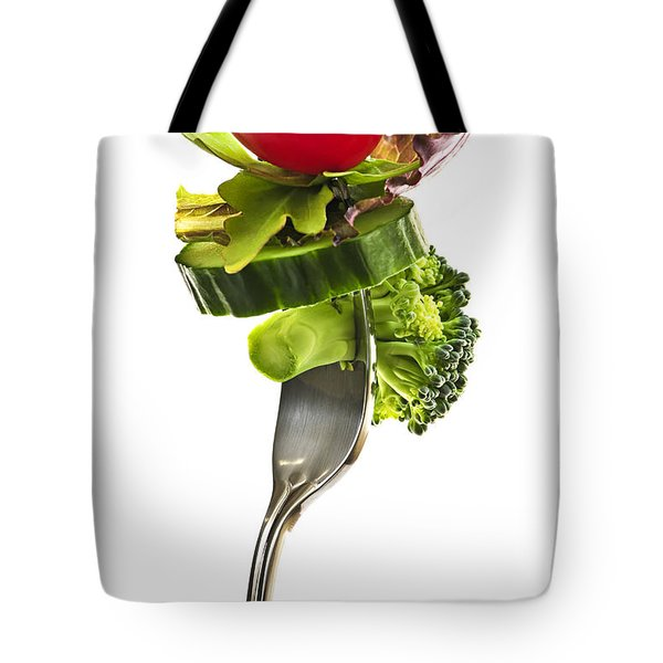 Fresh vegetables on a fork Tote Bag by Elena Elisseeva