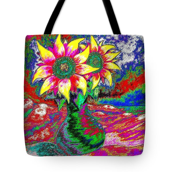 Funky Sunflowers Tote Bag by Annie Zeno