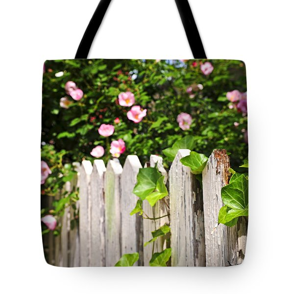 Garden fence with roses Tote Bag by Elena Elisseeva