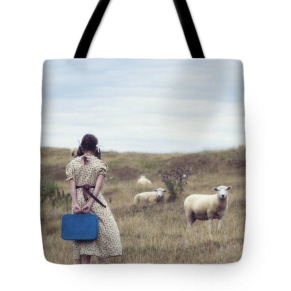 girl with sheeps Tote Bag by Joana Kruse