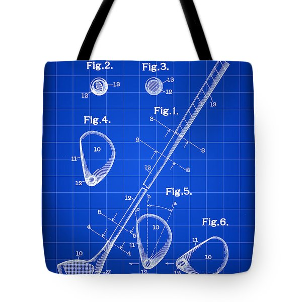Golf Club Patent 1909 - Blue Tote Bag by Stephen Younts