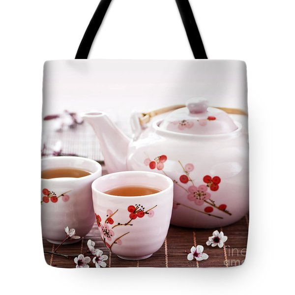 Green Tea Set Tote Bag by Elena Elisseeva