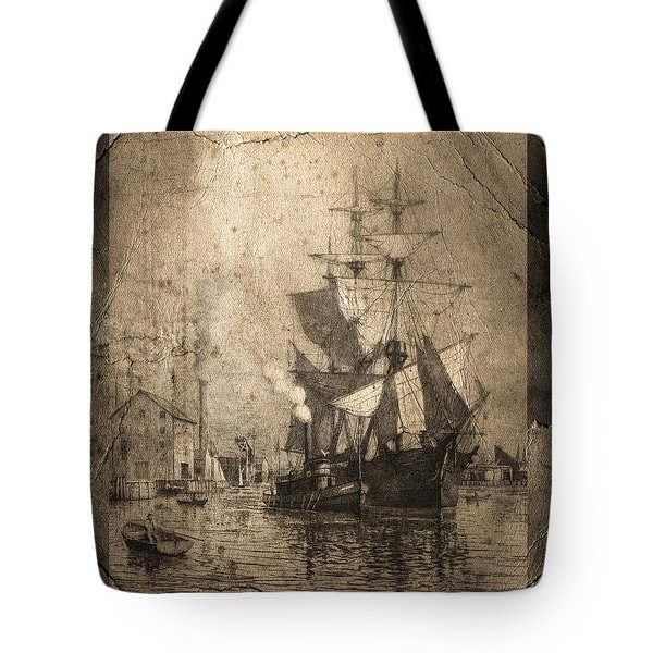 Grungy Historic Seaport Schooner Tote Bag by John Stephens