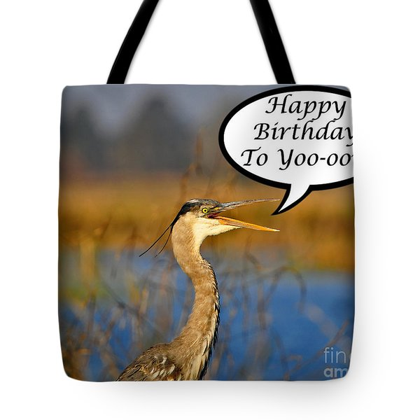 Happy Heron Birthday Card Tote Bag by Al Powell Photography USA
