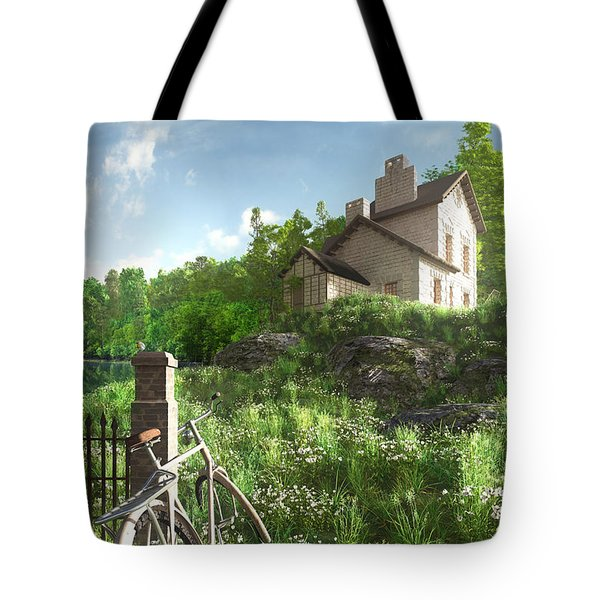 House On The Hill Tote Bag by Cynthia Decker