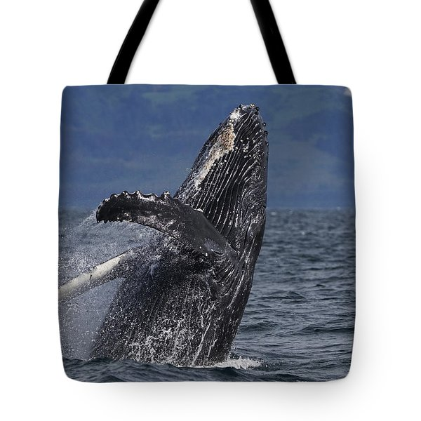 Humpback Whale Breaching Prince William Tote Bag by Hiroya Minakuchi