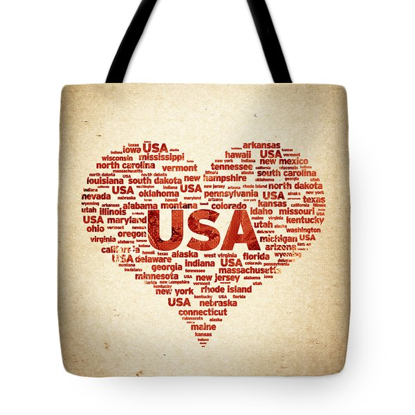 I Love USA Tote Bag by Aged Pixel