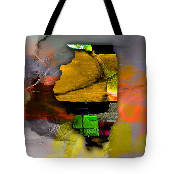 Illinois Map Watercolor Tote Bag by Marvin Blaine