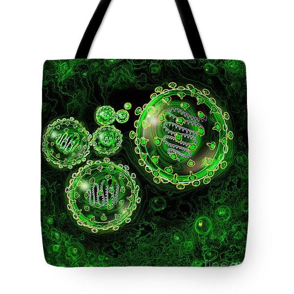 Illustration Of Sars Virus Tote Bag by Jim Dowdalls