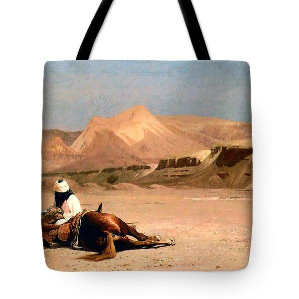 In the Desert Tote Bag by Jean-Leon Gerome