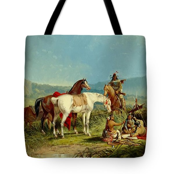 Indians Playing Cards Tote Bag by John Mix Stanley