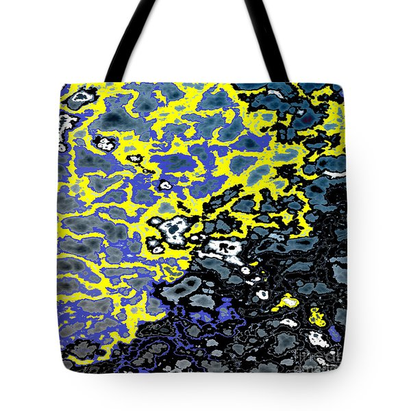 Infiltration Blue and Yellow Tote Bag by Gillian Owen