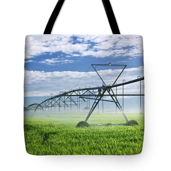 Irrigation equipment on farm field Tote Bag by Elena Elisseeva