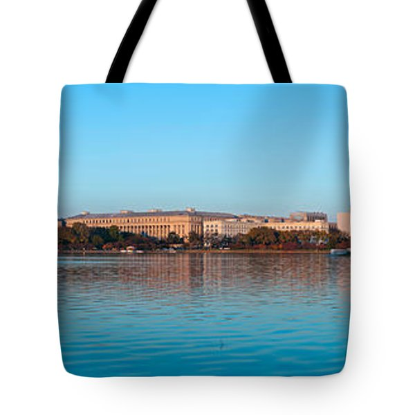 Jefferson Memorial And Washington Tote Bag by Panoramic Images