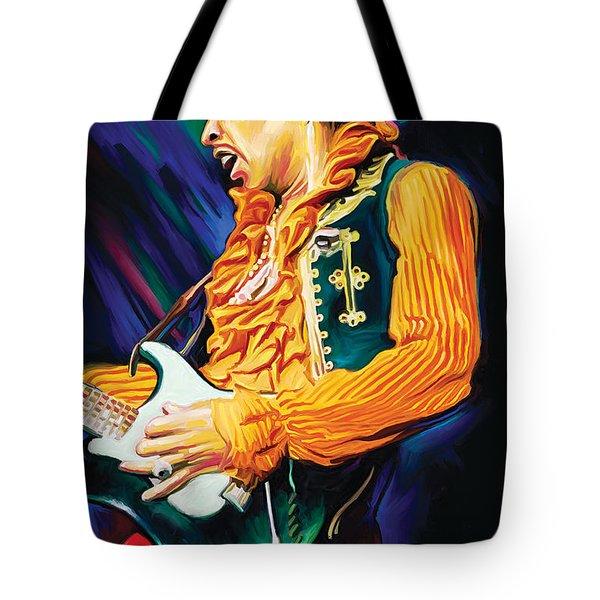 Jimi Hendrix Artwork Tote Bag by Sheraz A