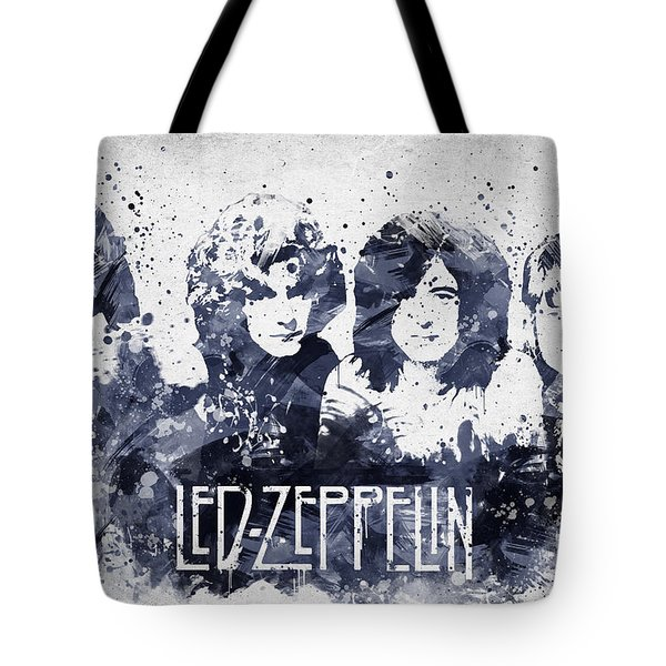 Led Zeppelin Portrait Tote Bag by Aged Pixel