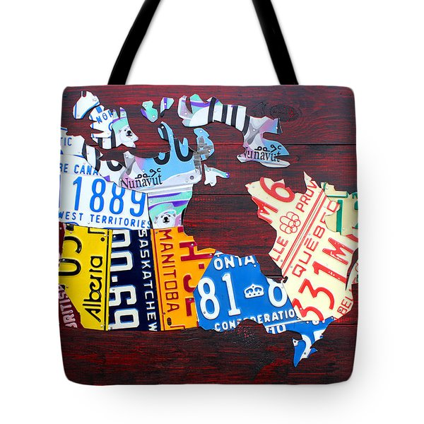 License Plate Map Of Canada Tote Bag by Design Turnpike