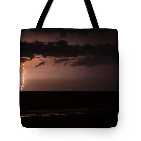 Lightning Over The Ocean Tote Bag by Dawna  Moore Photography