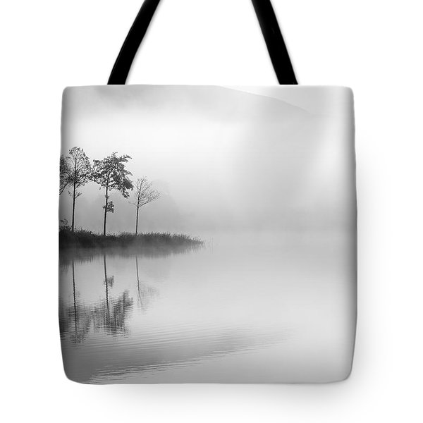 Loch Ard Trees In The Mist Tote Bag by Grant Glendinning