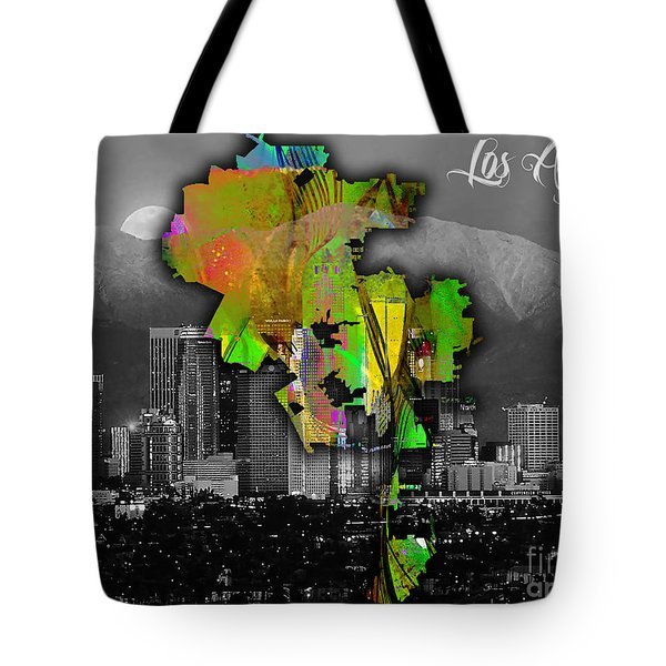 Los Angeles Map And Skyline Watercolor Tote Bag by Marvin Blaine