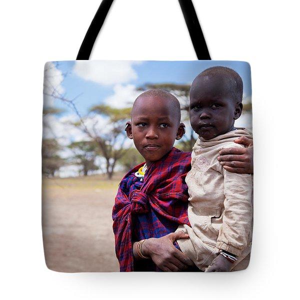 Maasai Children Portrait In Tanzania Tote Bag by Michal Bednarek