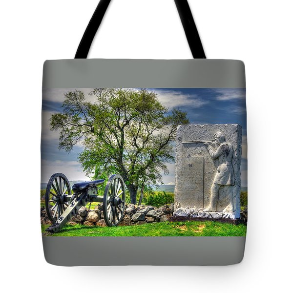 Massachusetts At Gettysburg - 1st Andrews Sharpshooters Unattached Mass. Vol. Infantry Hancock Ave Tote Bag by Michael Mazaika