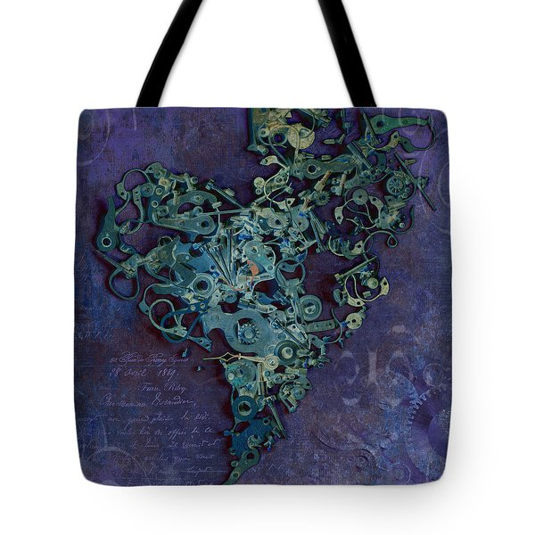 Mechanical - Heart Tote Bag by Fran Riley