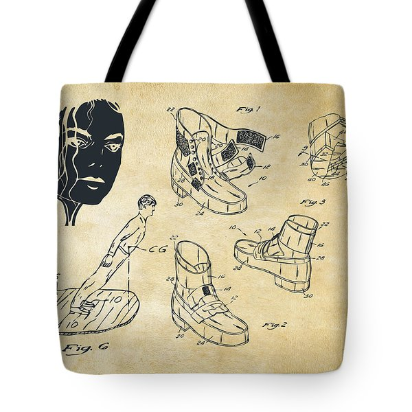 Michael Jackson Anti-gravity Shoe Patent Artwork Vintage Tote Bag by Nikki Marie Smith