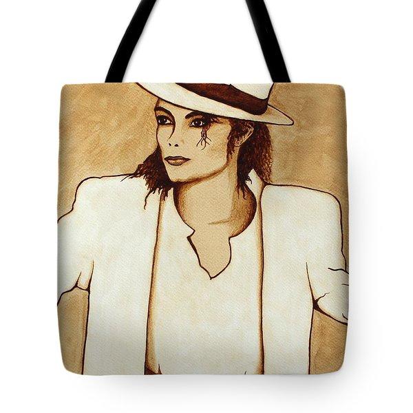 Michael Jackson original coffee painting Tote Bag by Georgeta  Blanaru