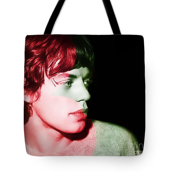 Mick Jagger Tote Bag by Marvin Blaine