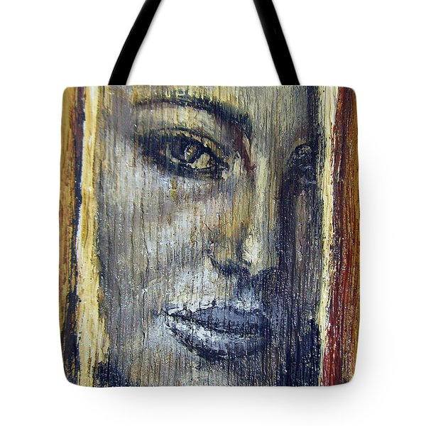 Mysterious Girl Face Portrait - Painting On The Wood Tote Bag by Nenad Cerovic