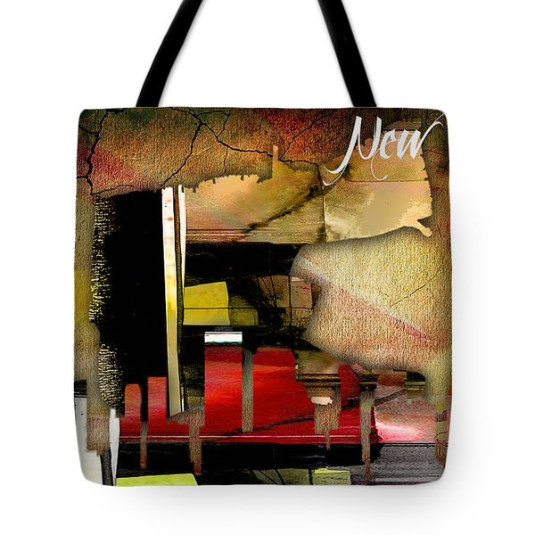 New Orleans Map And Skyline Watercolor Tote Bag by Marvin Blaine