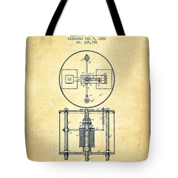Nikola Tesla Patent Drawing From 1886 - Vintage Tote Bag by Aged Pixel