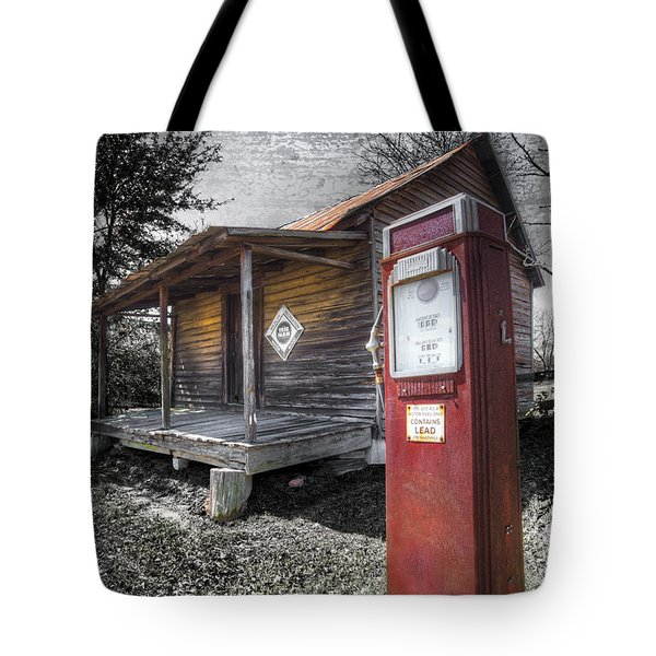 Old Gas Pump Tote Bag by Debra and Dave Vanderlaan