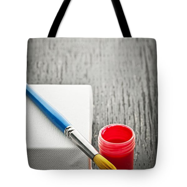Paintbrush on canvas Tote Bag by Elena Elisseeva