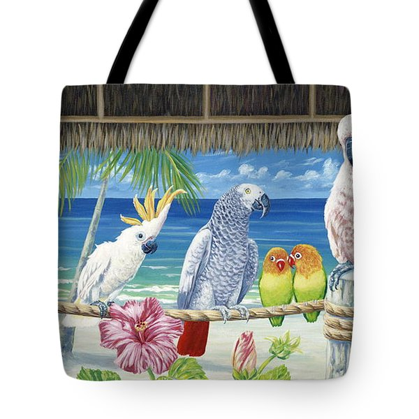 Parrots In Paradise Tote Bag by Danielle  Perry