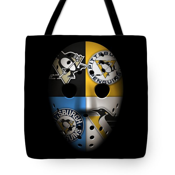 Penguins Goalie Mask Tote Bag by Joe Hamilton