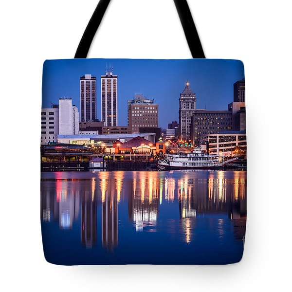 Peoria Illinois Skyline At Night Tote Bag by Paul Velgos