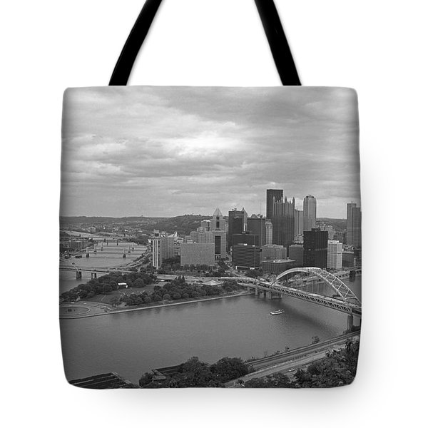 Pittsburgh - View Of The Three Rivers Tote Bag by Frank Romeo