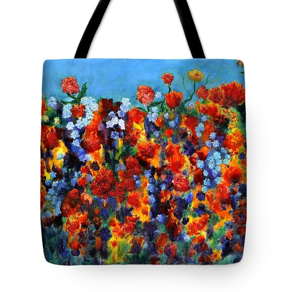 Red And Blue Tote Bag by Regina Valluzzi