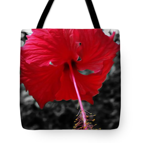 Red Hibiscus Tote Bag by Cheryl Young