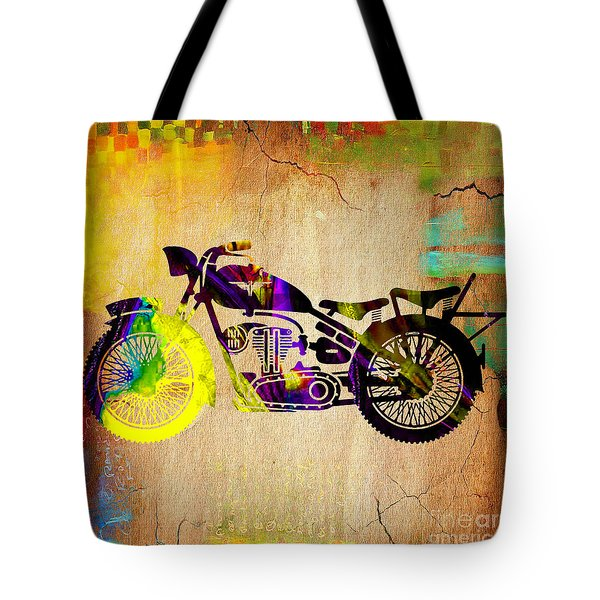 Retro Motorcycle Tote Bag by Marvin Blaine
