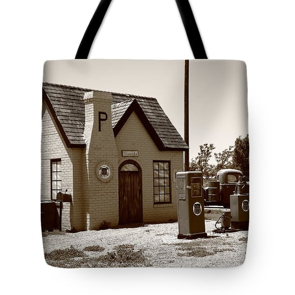 Route 66 - Phillips 66 Gas Station Tote Bag by Frank Romeo