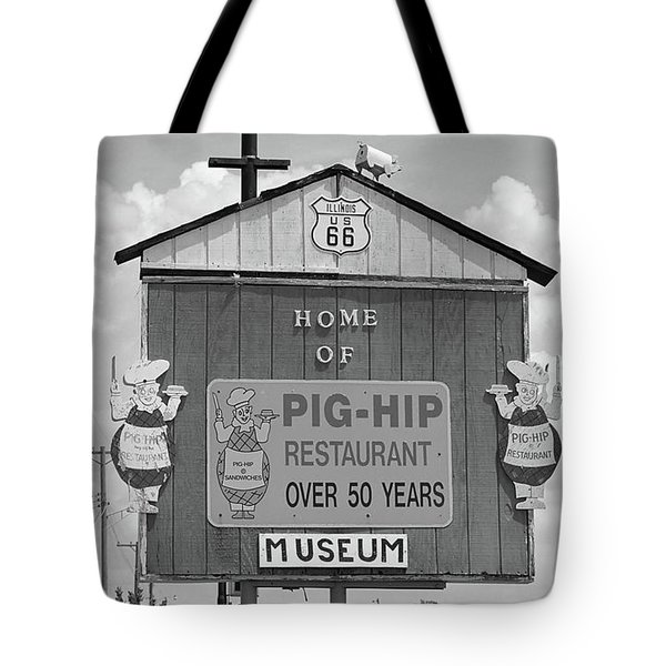 Route 66 - Pig-Hip Restaurant Tote Bag by Frank Romeo